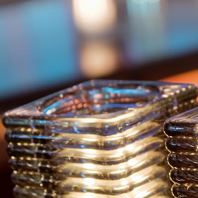 Q Lights Square Ribbed Glass