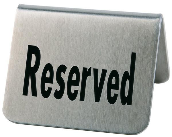 tafelbordje RVS RESERVED 5,5 x 5 x 3,5(h) cm DOOS 2