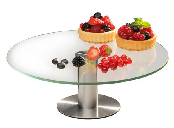 taart plateau glas 30 cm edelstalen voet
