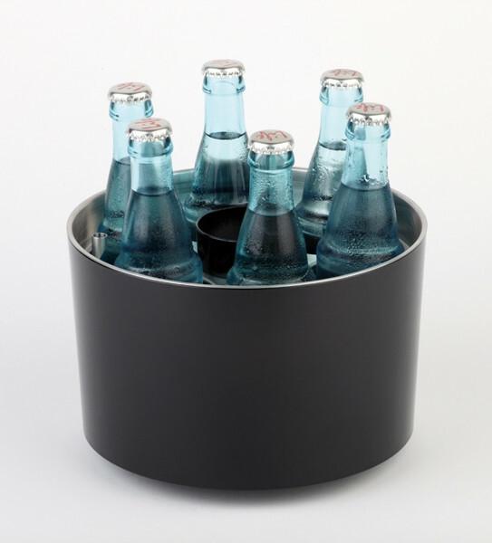 flessenkoeler kunststof zwart 6 x opening Ø 6,7 cm incl. koelelement