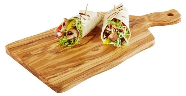 plank met handvat olijfhout 31 x 20 x 1,5(h) cm