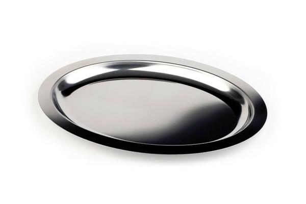 serveerschaal edelstaal ovaal 50 x 36 cm gladde rand