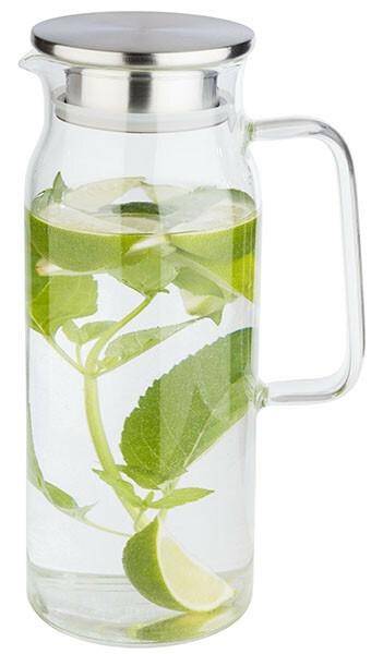 karaf glas 1,5 Ltr deksel edelstaal