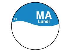 Daymark HACCP permanent stickers rond 19 mm schrijfoppervlak dispenser 7 x 1000