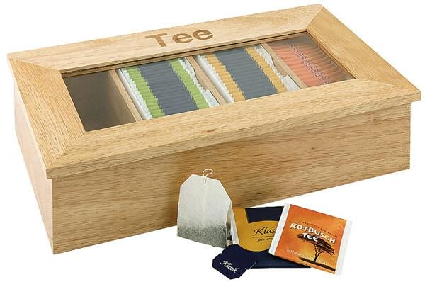 theedoos licht hout 4 vaks, opschrift thee