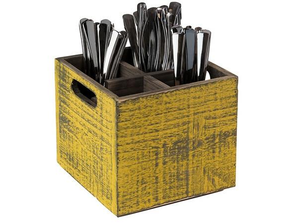 tafelcaddy Vintage 4-vaks geel 17 x 17 x 16(h) cm