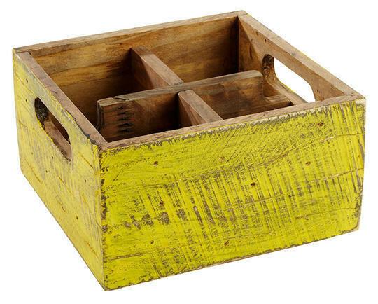 tafelcaddy Vintage geel 17 x 17 x 10(h) cm