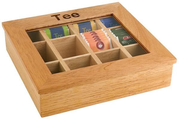 theedoos licht hout 12 vaks, opschrift thee