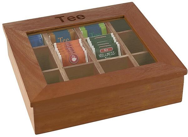 theedoos donker hout 12 vaks, opschrift thee