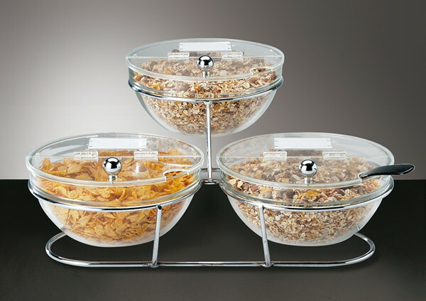 buffet stand bowls glas 23 cm, 3 x 1,5 Ltr