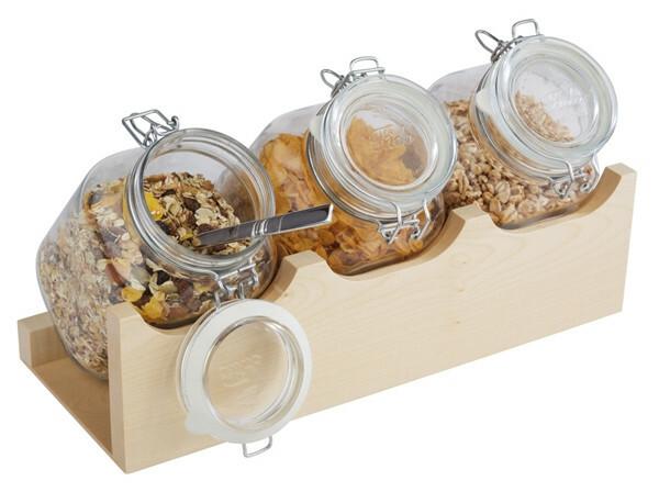 cereal buffet standaard Good Morning 4-delige set ahorn