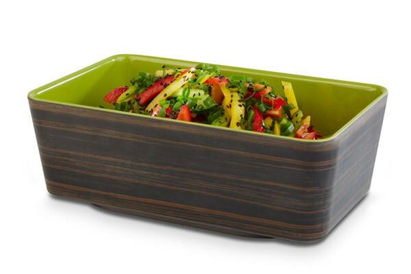 APS melamine + Universal bowl 26,5 x 16,2 x 9(h) cm oak-groen