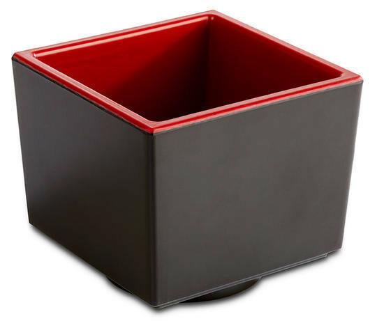 APS melamine Bento Box bowl 7,5 x 7,5 x 6,5(h) cm rood/zwart