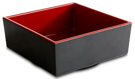 APS melamine Bento Box bowl 15,5 x 15,5 x 6,5(h) cm rood/zwart