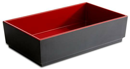 APS melamine Bento Box bowl 25 x 15,5 x 6,5(h) cm rood/zwart