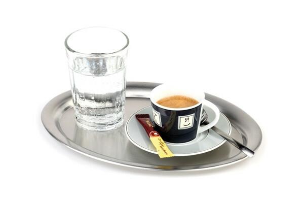 koffieplateau edelstaal 19 x 15 cm ovaal mat