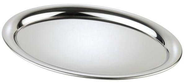 koffieplateau edelstaal 26,5 x 19 cm ovaal