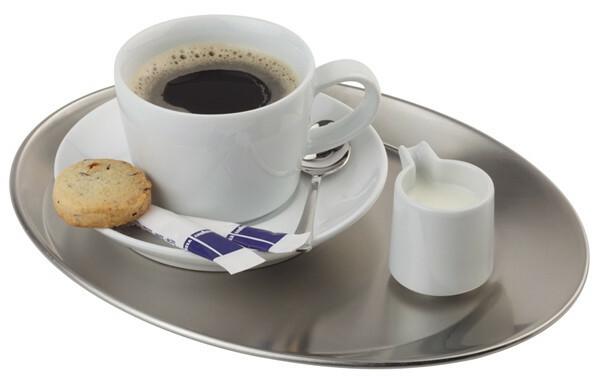 koffieplateau edelstaal 25,5 x 19,5 cm ovaal mat
