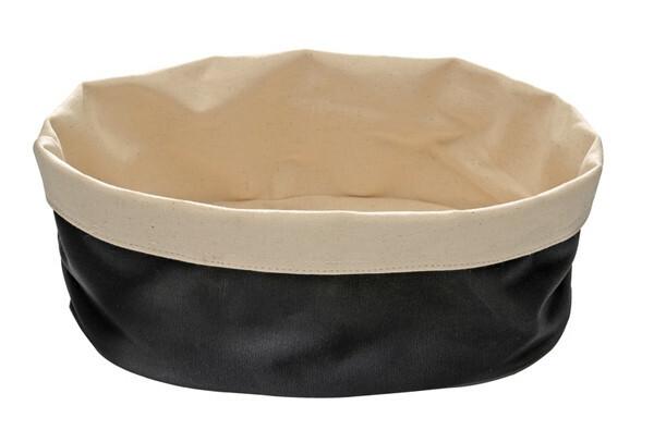 katoenen broodmandje beige / zwart Ø 17 cm hoog 8 cm