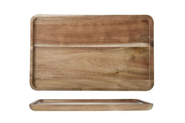 plank rechthoek Acacia opstaande rand  29 x 18 x 1,6(h) cm