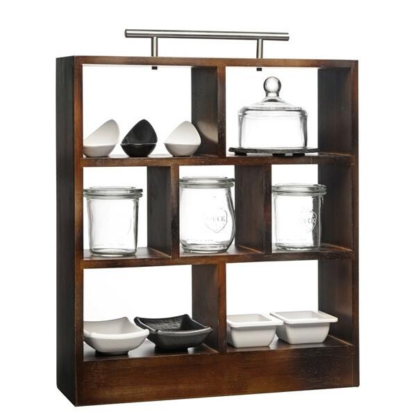 high tea rack donker bruin met edelstalen greep