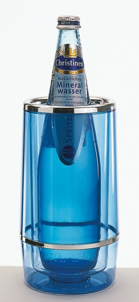 wijnkoeler kunststof dubbelwandig Ø 12 / Ø 10 x 23(h) cm transparant blauw