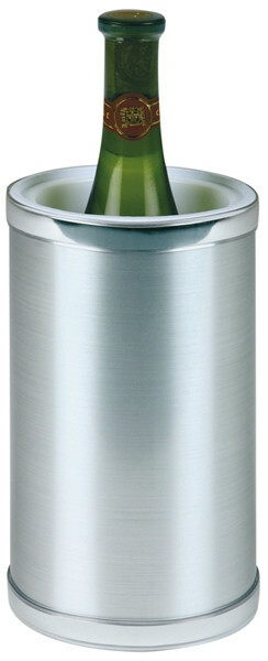 wijnkoeler kunststof dubbelwandig metaal look Ø 12,5 /  Ø 10 x 22(h) cm