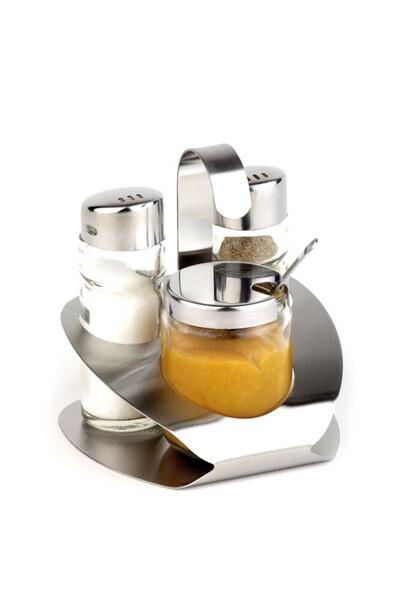 menage set peper-zout-mosterd 10 x 10 x 11,5(h) cm