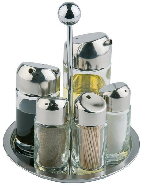 menage set peper-zout-olie-azijn-stoker Ø16 x 20(h) cm