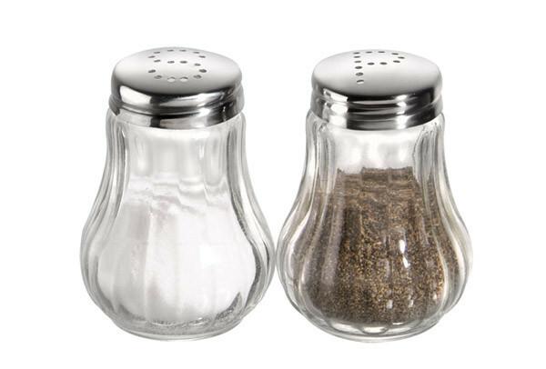 peper- en zoutstrooier glas 6,5(h) cm DOOS 2