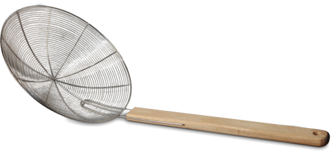 frituurschep houten steel RVS Ø 20 cm