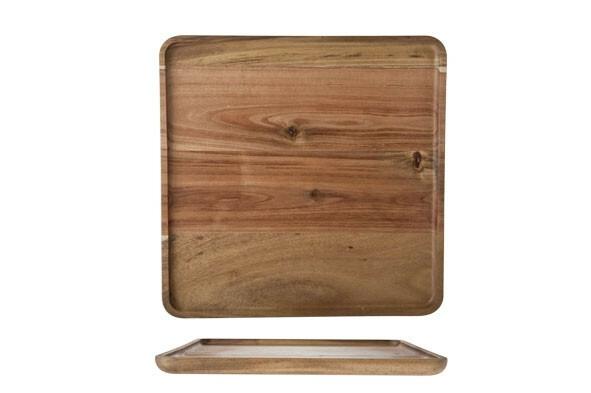plank vierkant acacia opstaande rand 26 x 26 x 1,6(h) cm