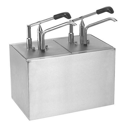 sausdispenser RVS dubbel * 2 x gastronormbak GN 1/6 20 cm diep