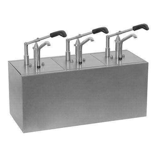 sausdispenser RVS 3 - dubbel * 3 x gastronormbak GN 1/6 20 cm diep
