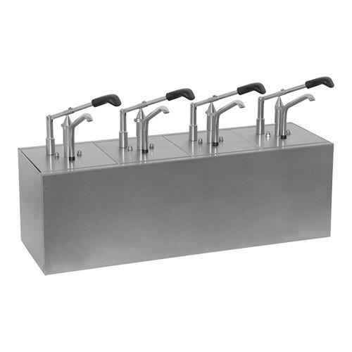 sausdispenser RVS 4 - dubbel * 4 x gastronormbak GN 1/6 20 cm diep