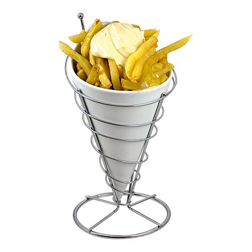 frites serveer standaard Ø 12 x 23(h) cm incl. porseleinen inzet