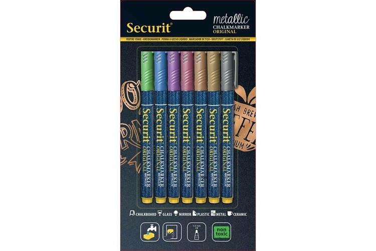 Securit krijtstiften metallic kleur mix 1-2 mm DOOS 7