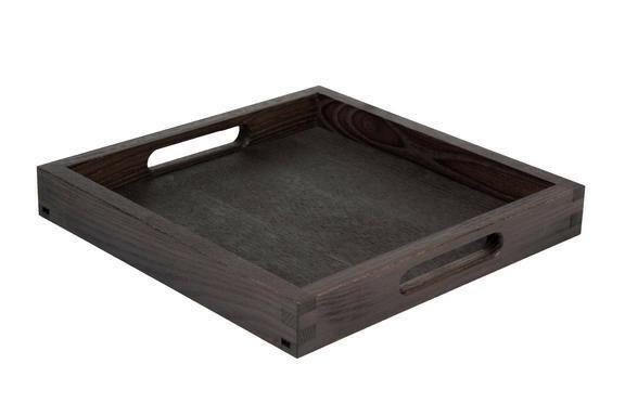 Black room service tray square 28 x 28 x 4(h) cm