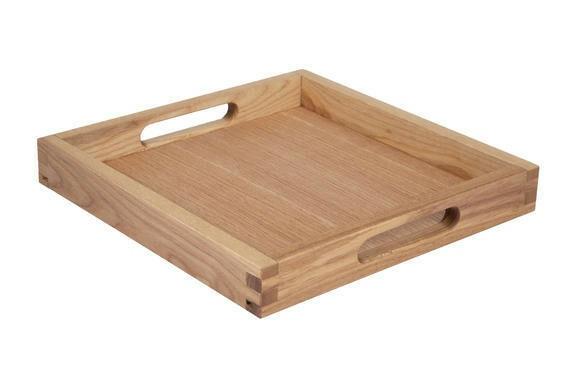 Oak linoil room service tray square 28 x 28 x 4(h) cm