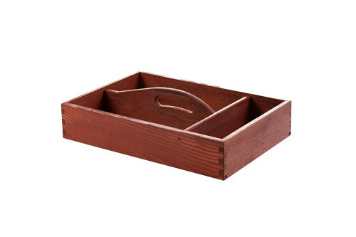 Red Wood cutlery box with handle 3 - vaks 35 x 24 x 6,5(h) cm