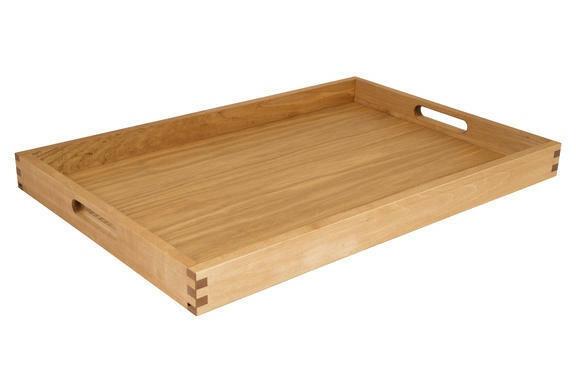 Oak linoil room service tray large 60 x 40 x 4(h) cm