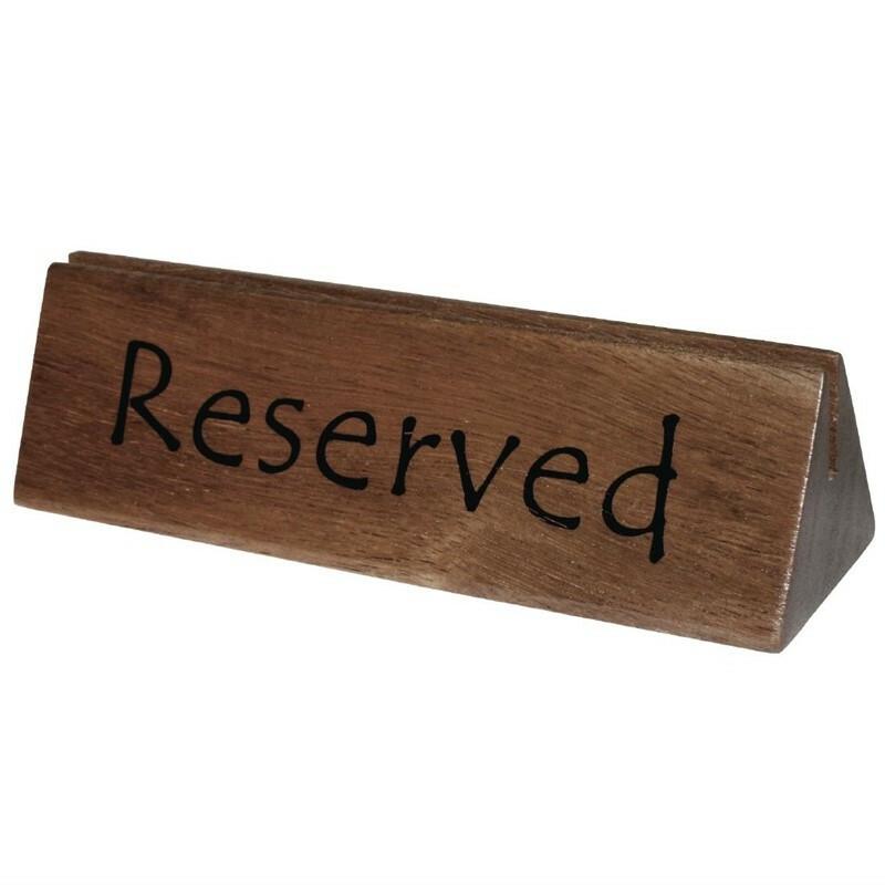 tafelbordje hout RESERVED 15 x 3,5(h) cm DOOS 10