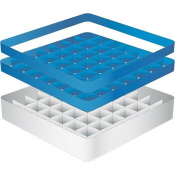 voetglazenkorf 49 compart. * afmeting max. : Ø6,3 x 24(h) cm