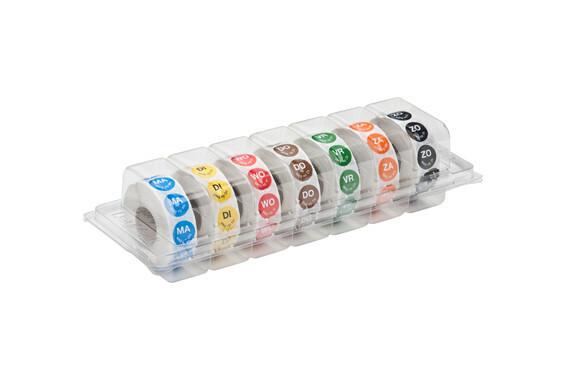 """Daymark HACCP  permanent stickers rond 19 mm """"MA weg op WOE"""" dispenser 7 x 1000"""