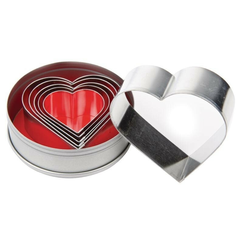 stekerdoos RVS 6 stuks hartvorm glad