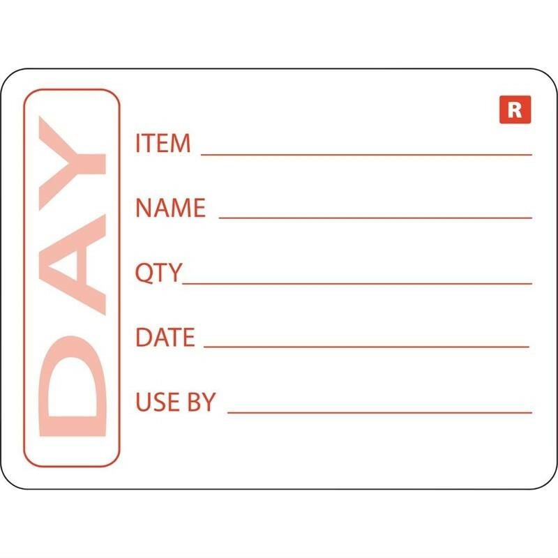 """HACCP afneembare sticker """"DAY"""" 50 x 65 mm DOOS 500"""