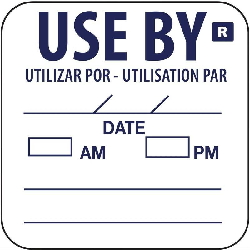 "HACCP afneembare sticker ""USE BY""  25 x 25 mm DOOS 1000"