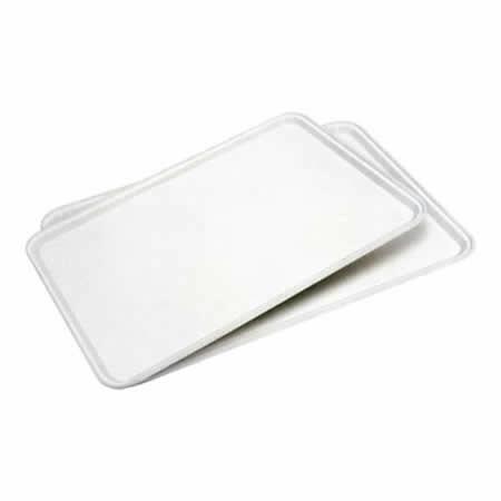 rechthoekig dienblad kunststof  53 x 32,5 cm wit gespikkelt