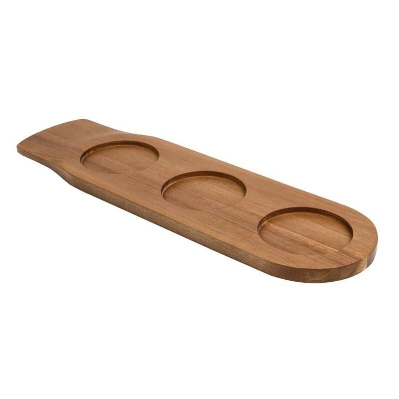plank acacia met 3 uitsparingen 48 x 14 cm