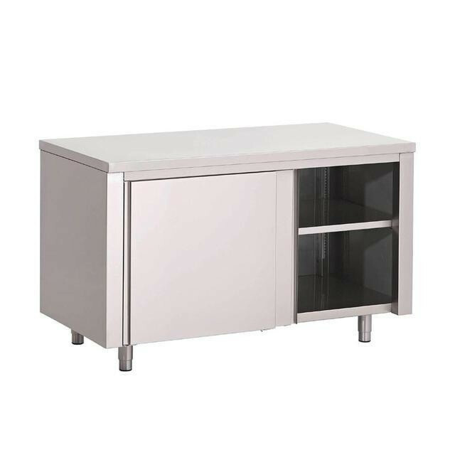Gastro M RVS werktafel gesloten met schuifdeuren 85(h) x 100(b) x 70(d)cm
